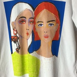 🍁🎃🍂 Zara Painted Faces Shirt Sleeve Tee